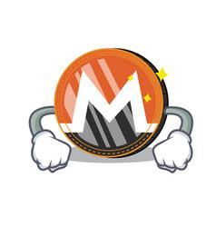 Angry monero coin character cartoon vector
