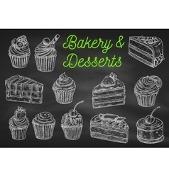 Bakery and desserts chalk sketch icons vector image