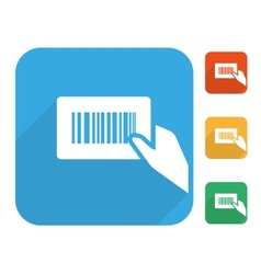 Barcode label with human hand icon set vector