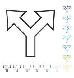 Bifurcation arrow left right icon vector