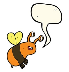 cartoon happy bee with speech bubble vector image vector image