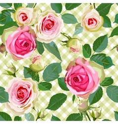 Checked Seamless Pattern with Roses vector image
