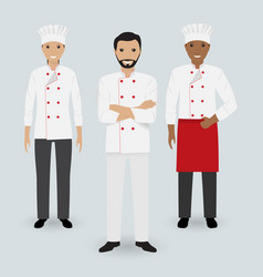 chef and two cook in uniform standing together in vector image