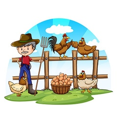 Chicken farmer with eggs vector image