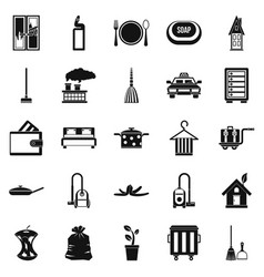 Clean up icons set simple style vector