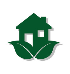 color pictogram with ecological house vector image vector image