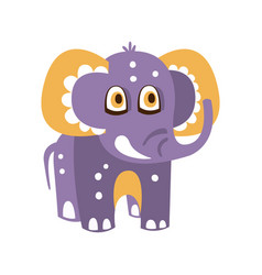 Cute cartoon baby elephant character front view vector