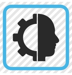 Cyborg gear icon in a frame vector
