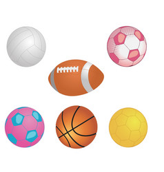 Different game balls in the big basket isolated vector