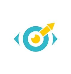 Eye ball monitor arrow logo vector