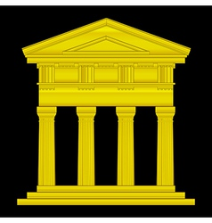 Gold doric temple vector image vector image