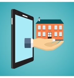 Hand holding house from screen of smartphone vector image