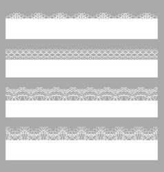 lace borders set of white seamless patterns vector image vector image