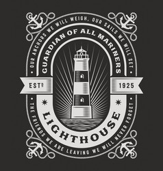 lighthouse typography on black background vector image vector image
