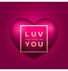 Love you heart on pink background vector