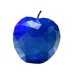 Low poly apple icon blue vector image vector image