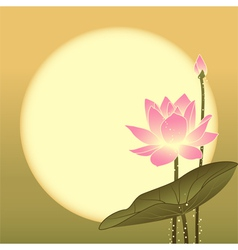 Mid Autumn Festival Lotus Flower and Full Moon vector image vector image
