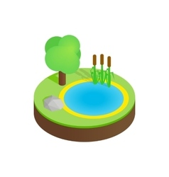 Pond in a summer forest isometric 3d icon vector