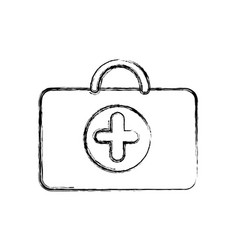 Profile suitcase healthcare with hospital symbol vector