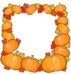Pumpkins frame background full autumn border vector