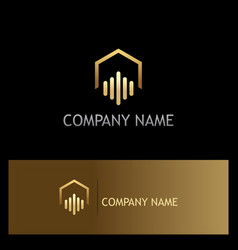 realty house abstract business gold logo vector image vector image