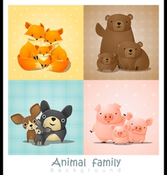 Set of cute animal family portrait vector image vector image