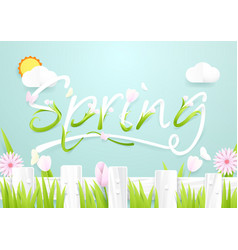 Spring season concept wooden fence with flowers vector