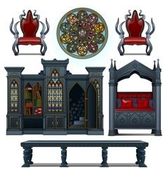 Vintage design furniture of the medieval house vector