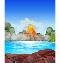 Volcano eruption at the lake vector