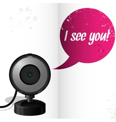 Webcam with text i see you vector