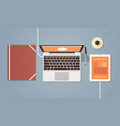 workplace desk top angle view laptop and tablet vector image vector image