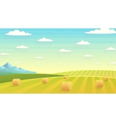 Natural landscape hay field vector