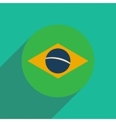 Flat icon with long shadow brazilian flag vector