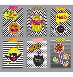 Set of stylish halloween cards vector