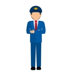 Silhouette front captain pilot in color vector