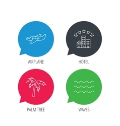 Airplane waves and palm tree icons vector