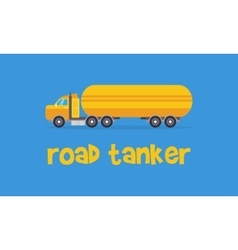 Yellow road tanker of art vector