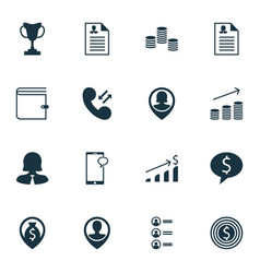 Set of 16 hr icons includes money business woman vector