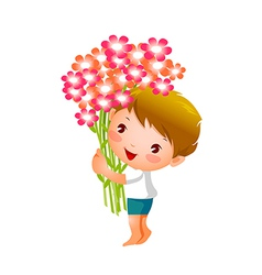 Side view of boy holding flowers vector