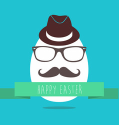 Hipster easter egg fun greeting card design vector