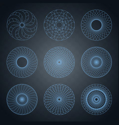 set of concentric element with rounded shapes vector image