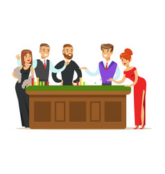 Happy people gambling at table in casino colorful vector