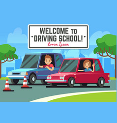 Driving school background with young happy vector