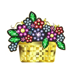 Gem baskets of flowers vector