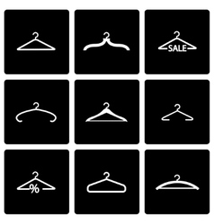 Black hanger icon set vector