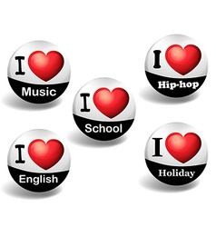 I love english badges vector