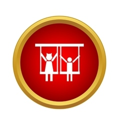 Children ride on swing icon simple style vector