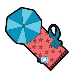 Beach umbrella swimsuit and sunblock bottle vector