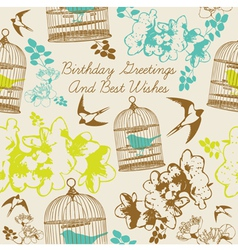 Birthday Swallows Card vector image vector image