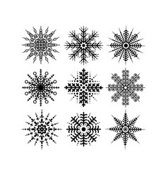 black silhouettes snowflakes set isolated on white vector image